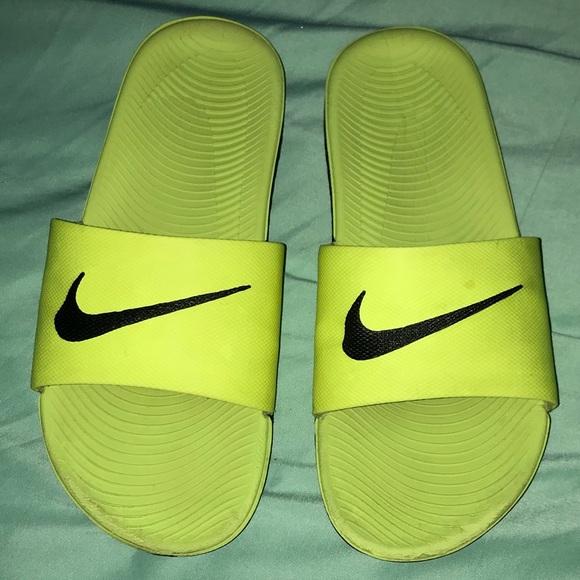 df06d2a57ba8 Neon Nike Slides 6Y. M 5b2db59161974565f2e92b45